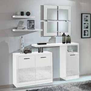 Padova Wooden Hallway Furniture Set In White High Gloss