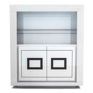 Padua Wide LED Display Cabinet In High Gloss White And Black