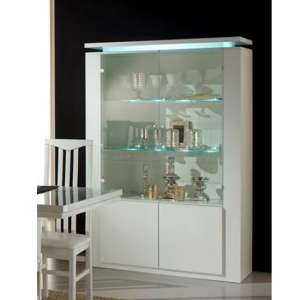Padua Wooden 4 Doors Display Cabinet In White Gloss With LED
