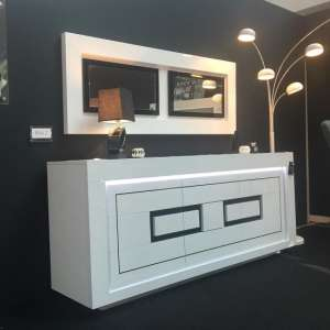 Padua Wooden LED Sideboard In High Gloss White And Black