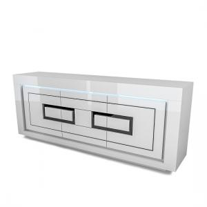 Padua Wooden Sideboard In Glossy White And Black With LED