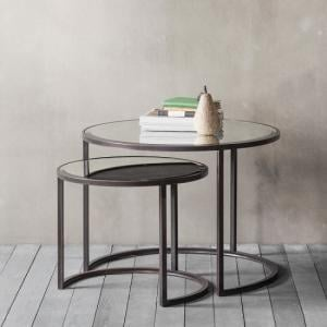 Palais Set of Coffee Tables In Glass Tops With Metal Frames