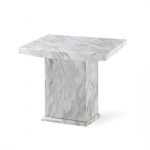 Palermo Wooden Marble Effect Lamp Table Square In White And Grey