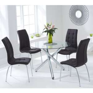 Palmer Round Glass Dining Table With 4 Gala Brown Dining Chairs