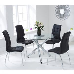 Palmer Round Glass Dining Table With 4 Gala Black Dining Chairs