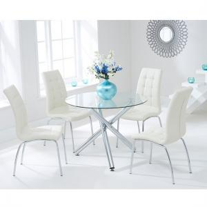 Palmer Round Glass Dining Table With 4 Gala Cream Dining Chairs