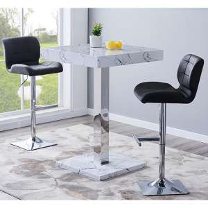 Palmero Gloss Bar Table In Vida Effect With 2 Candid Black Stools