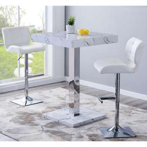Palmero Gloss Bar Table In Vida Effect With 2 Candid White Stools