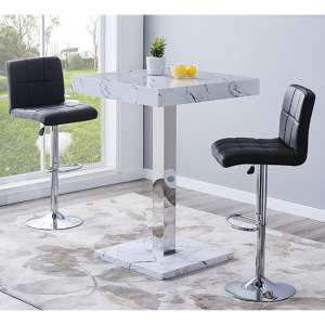 Palmero Gloss Bar Table In Vida Effect With 2 Coco Black Stools