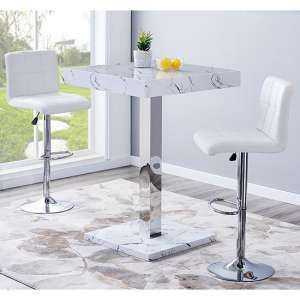 Palmero Gloss Bar Table In Vida Effect With 2 Coco White Stools