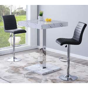 Palmero Gloss Bar Table In Vida Effect With 2 Ripple Black Stools