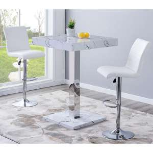 Palmero Gloss Bar Table In Vida Effect With 2 Ripple White Stools