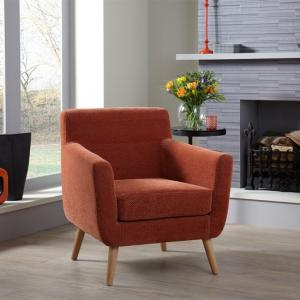 Paloma Fabric Lounge Chair In Orange With Wooden Legs