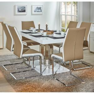 Palzo Dining Table In White Gloss With 6 Marine Beige Chairs