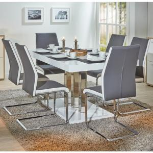 Palzo Dining Table In White High Gloss And 6 Marine Grey Chairs