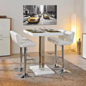 Palzo Bar Table In White High Gloss With 4 Candid Stools