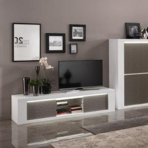 Pamela High Gloss TV Stand Large In White And Grey With Lighting