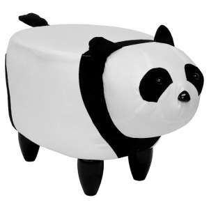 Panda Shaped Pouffe In White And Black Finish