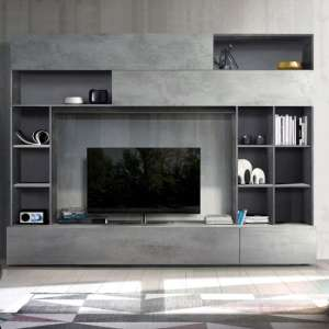 Pandora Large Entertainment Unit In Oxide And Cement Effect