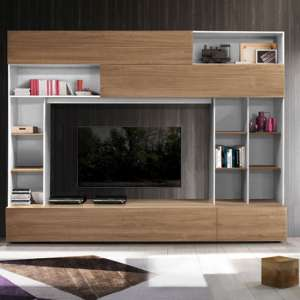 Pandora Large Entertainment Unit In White And Stelvio Walnut