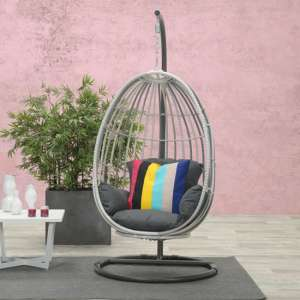 Paneya Synthetic Rattan Hanging Swing Chair In Cloudy Grey