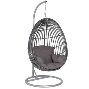 Paneya Synthetic Rattan Hanging Swing Chair In Earl Grey