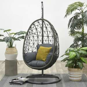 Paneya Synthetic Rattan Hanging Swing Chair In Rope Moss Green