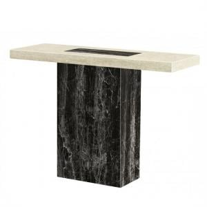 Paolo Marble Console Table Rectangular In Cream And Black