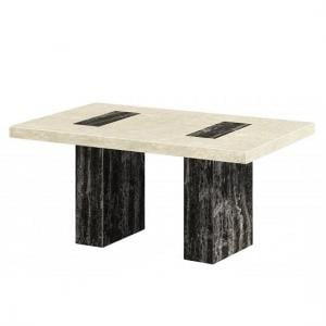 Paolo Marble Dining Table Rectangular In Cream And Black