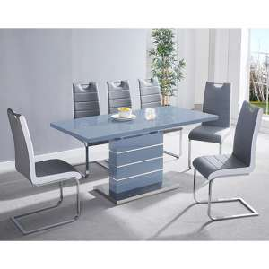Parini Extending Grey Gloss Dining Set With 6 Grey Petra Chairs