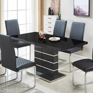 Parini Glass Extendable Dining Table Rectangular In Black Gloss