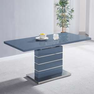 Parini Extendable Dining Table Rectangular In Grey High Gloss