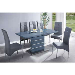Parini Extending Grey Gloss Dining Set With 6 Grey Vesta Chairs
