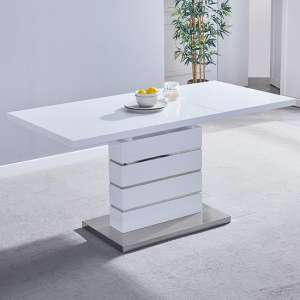 Parini Extendable Dining Table Rectangular In White High Gloss