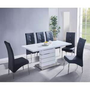 Parini Extending White Gloss Dining Set With 6 Black Chairs