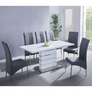 Parini Extending White Gloss Dining Set With 6 Grey Chairs