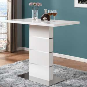 Parini Wooden High Gloss Bar Table In White