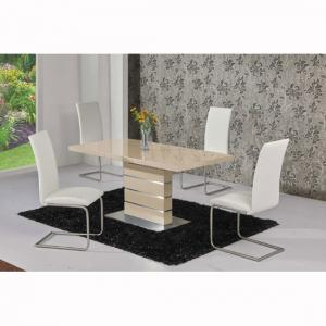 Parini Extendable Dining Set In Cream Gloss With 6 Ronn Chairs_2