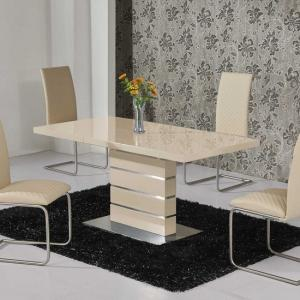 Parini Extendable Dining Table Rectangular In Cream Gloss