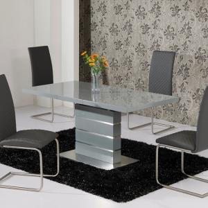 Parini Glass Extendable Dining Table Rectangular In Grey Gloss
