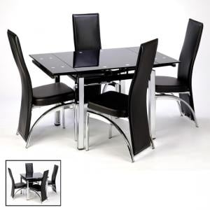 Enzo Black Gl Extending Dining Kitchen Table