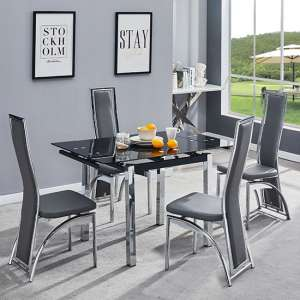 Paris Extending Glass Dining Table With 4 Chicago Grey Chairs