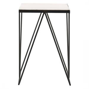Parisian Square Side Table In Marble Top With Black Frame