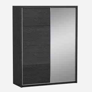 Parker Sliding Mirrored Wardrobe In Grey High Gloss