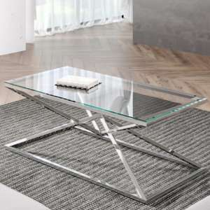 Parma Clear Glass Coffee Table With Silver Stainless Steel Legs