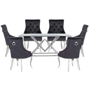 Parma Clear Glass Dining Set With 6 Black Angelo Chairs