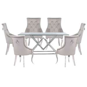 Parma Clear Glass Dining Set With 6 Grey Angelo Chairs
