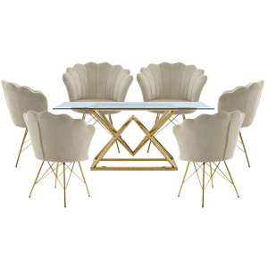 Parma Glass Dining Set In Gold Base With 6 Beige Conrad Chairs