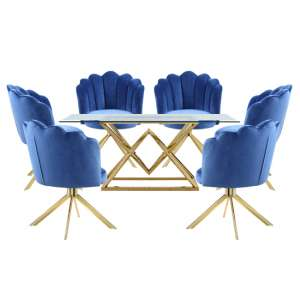 Parma Glass Dining Set In Gold Base With 6 Blue Mario Chairs