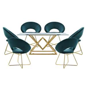 Parma Glass Dining Set In Gold Base With 6 Green Barclay Chairs